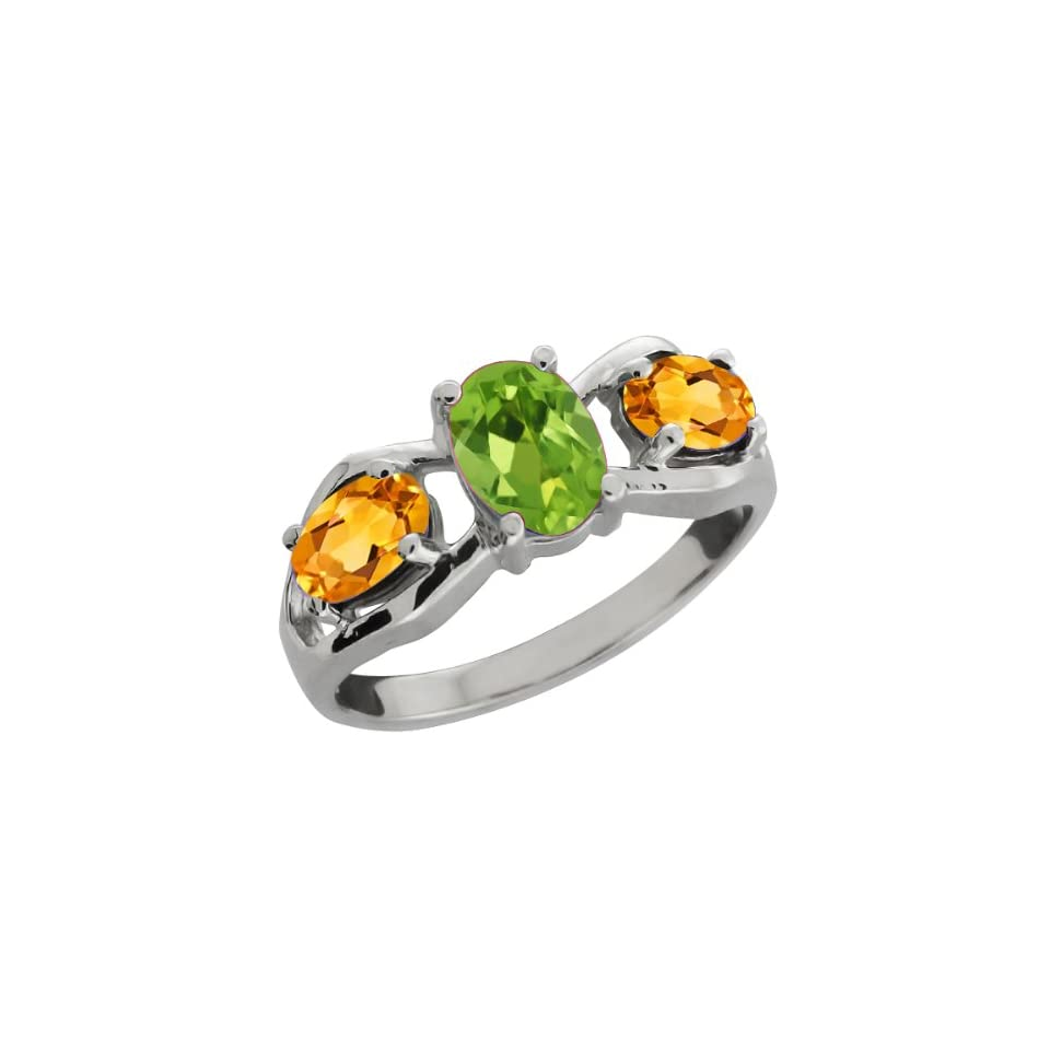 1.60 Ct Oval Green Peridot and Yellow Citrine Sterling Silver Ring