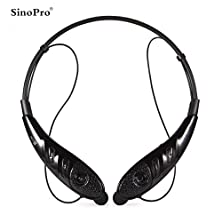 buy Sinopro Wireless Bluetooth 4.0 Headphone, Flex Neck Strap Earbuds Noise Cancelling Headset For Iphone, Samsung, Lg, Motorola, Htc And Other Smart Phones And Bluetooth Devices (Black)