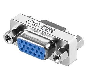 Ligawo VGA Adapter Kupplung Buchse/ Buchse Gender Changer zum verbinden von 2 VGA Kabeln - Monitorkabel Beamerkabel Pc Kabel