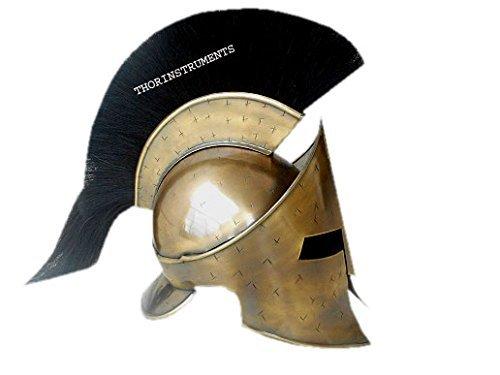 thor-instrumentsco-300-king-leonidas-spartan-helmet-w-black-plume-greek-helmet-larp-replica-antique-
