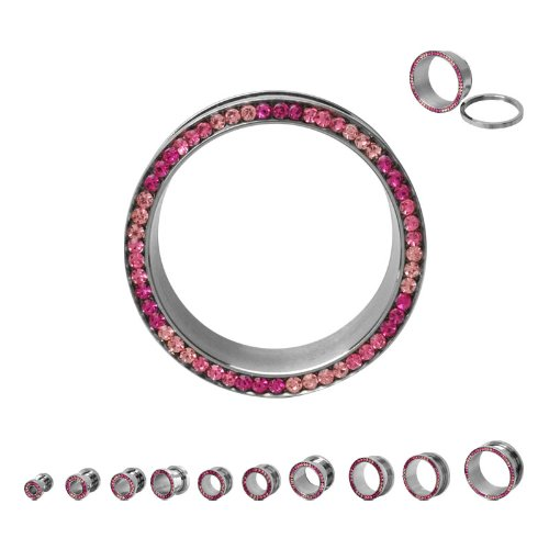 316L Surgical Steel Cubic Zirconia Screw Fit Saddle Double Flare Light Pink Fuschia Pink Multigem Plugs - 5/8
