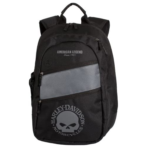 Gray Skull Bar & Shield Backpack. 12 x 17 ¾ X 7 Inches. BP1971S-GRY