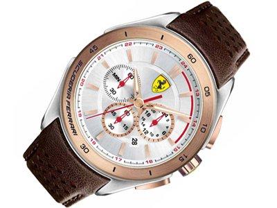 Scuderia Ferrari reloj de pulsera para hombre reloj de pulsera 0830190 cuero/marrón, New
