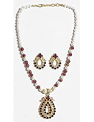DollsofIndia White And Maroon Stone Studded Party Necklace With Earrings - Stone And Metal - White