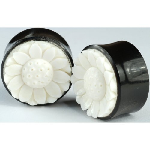 Pair of Horn Double Flared Plugs With Bone Lotus Flower Inlay: 1 inch g