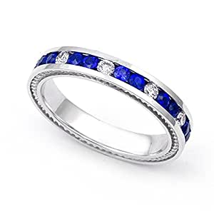 Amazon.com: 14k White Gold Channel set Diamond and Blue