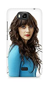Amez designer printed 3d premium high quality back case cover for Huawei Honor Bee (Actress zooey deschannel)