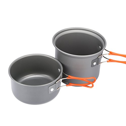 G4Free Outdoor Camping pan Hiking Cookware Backpacking Cooking Picnic Bowl Pot Pan Set 4 Piece Camping Cookware Mess Kit(2 PCS-Orange) (Camp Cook Pans compare prices)