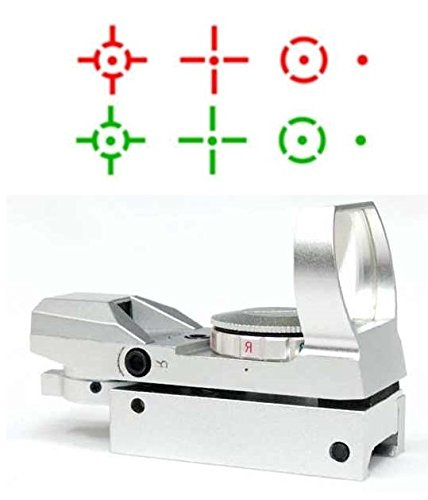 "Global Sportsman Tactical Silver Multi 4 Reticle Red & Green Dot Open Tubeless Reflex Scope Sight Adjustable Brightness With Weaver-Picatinny 7/8"" Rail Mount"