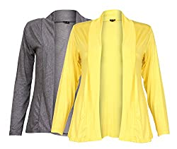 Ten on Ten Womens Pair of Yellow/ Carbon Grey Long Shrug
