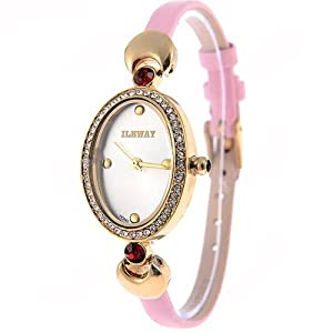 (ILEWAY) ABL-8805 Elegant Genuine Leather Quartz Analog Watches Wrist Watches Timepieces with Rhinestones f Female - Pink SWWM2-224789