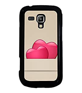 Pair of Love Hearts 2D Hard Polycarbonate Designer Back Case Cover for Samsung Galaxy S Duos S7562