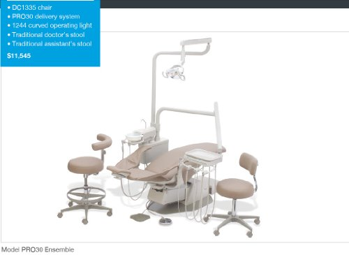 Complete Dental Operatory Office Package - Pro30 Ensemble - Chair + Delivery System + Light + Stools W/Cuspidor + Dte D5 (Satelec Type) Piezzo Ultrasonic Scaler + Led.C Wireless Curing Light + Intraoral Camera + Free Extra Doctor Stool