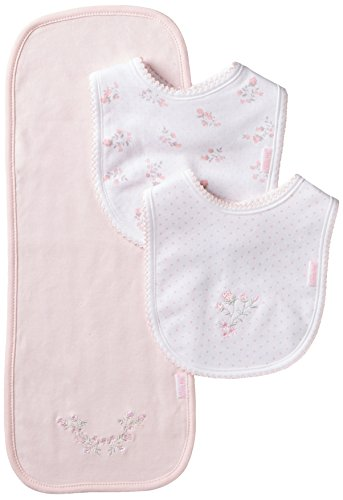 Little Me Baby-Girls Newborn Dainty 2 Bib Burp Set, White/Pink, One Size