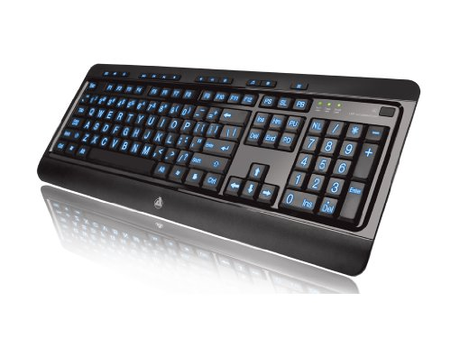 Azio Large Print Tri-Color Backlit Keyboard (KB505U)