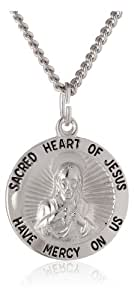 Sterling Silver Round Sacred Heart of Jesus Scapular Pendant Necklace, 20""