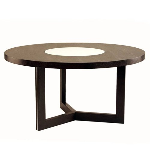 60 round dining table w crackled glass lazy susan