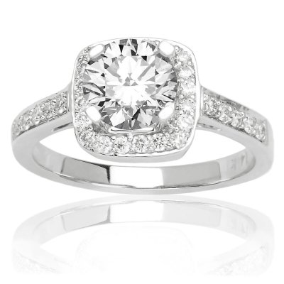 Square Halo Round Diamond Engagement Ring Luxurious Rings