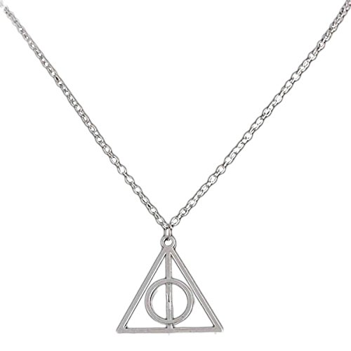 fitTek COLLANA CIONDOLO HARRY POTTER DONI DELLA MORTE DEATHLY HALLOWS ARGENTO COSPLAY