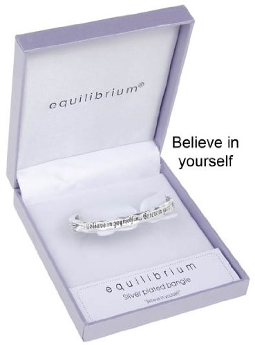 "Equilibrium - Bracciale placcato in argento con scritta ""Believe In Yourself"""