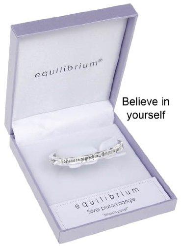 "Equilibrium - Bracciale placcato in argento con scritta ""Believe In Yourself"""