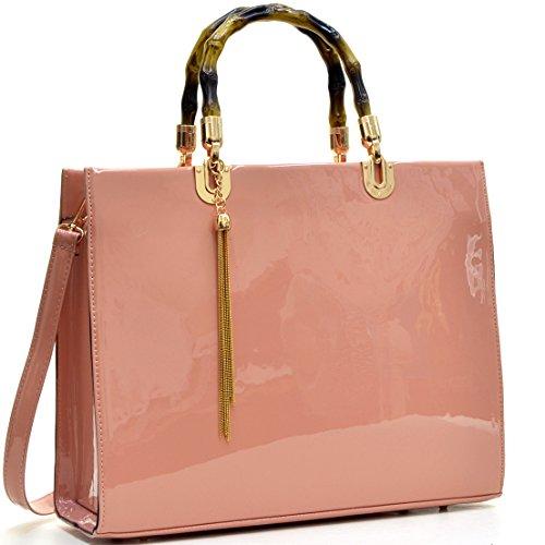dasein-wooden-handle-patent-leather-satchel-shoulder-ipad-bag-handbag-pink