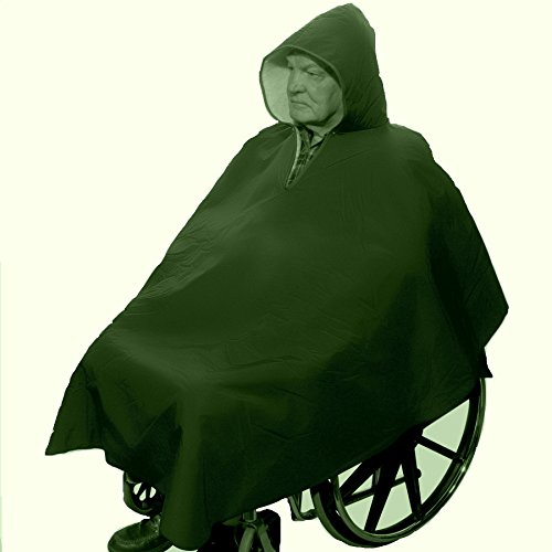 Winter Hooded Poncho Cape for Wheelchair Users-Hunter Green - 1