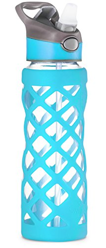 Swig Savvy 25oz Glass Water Bottle - Protective Silicone Sleeve With 3 Interchangeable Leak-proof Caps . Sleek, Durable & Stylish - PBA Free - Break Resistant Borosilicate Glass (Blue, 1 Pack) (Water Bottles Straw compare prices)