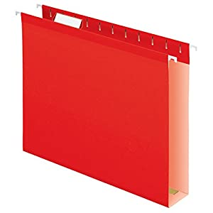 Pendaflex Extra Capacity Reinforced Hanging Folders, Letter Size, Red, 25 per Box (4152X2RED)