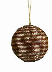 """Tag Hand Assembled Beaded Stripe, Christmas Ornament, 3"""" Dia, Copper, Set of 6"""
