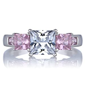 Staci's Promise Ring - Pink & Clear Princess Cut CZ, ring size