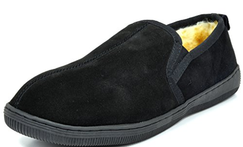 DREAM PAIRS FUR-LOAFER-02 Men's Classic Casual Winter Suede Faux Fur Lined Slip On Loafers Slipper Shoes BLACK SIZE 11