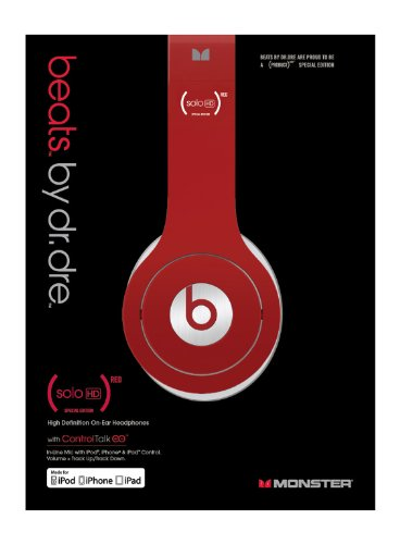 Beats by Dr Dre Solo HD Project RED Headphones with ControlTalk  - Red