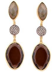 Zariin Drop Earrings For Women (Transparent Black) (EPS085STcubic ZirconL)