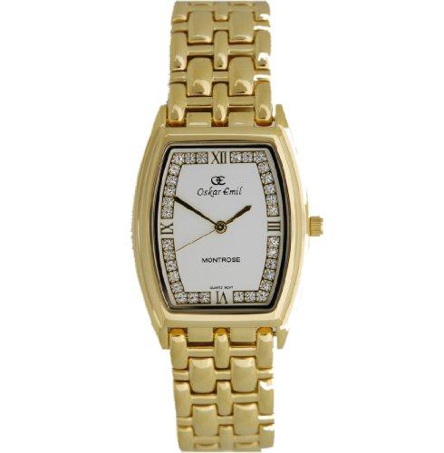 Oskar Emil Montrose Gold Crystal Set Ladies Dress Watch