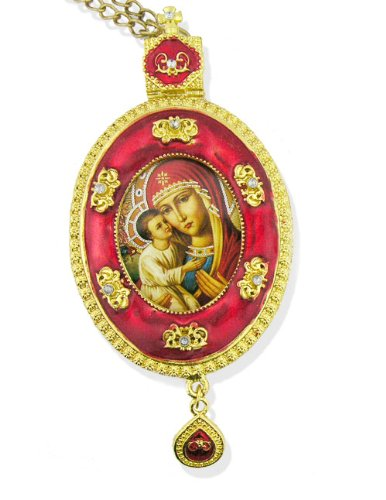 Madonna & Child Christ Jesus Icon Pendant Religious Christmas Easter Gift Ornament Icon Jeweled Chain Gift Boxed