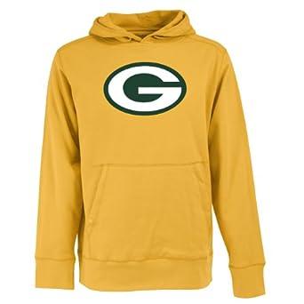 Green Bay Packers Hoodie Sweatshirt - NFL Antigua Mens Signature Applique Sweatshirt Gold 2X-Large