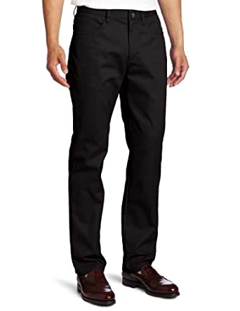Lee Uniforms Men?s Slim straight 5 pocket pant, Black, 28Wx30L