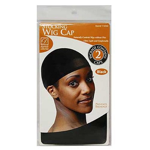 STOCKING WIG CAP BLACK (2 PACK)