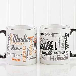 Personalized Coffee Mugs - Signature Style For Him - Blank Handle