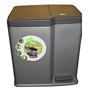 poubelle curver 2 compartiments 22 l anti odeur gris 1x7 l 1x 15l cuisine maison. Black Bedroom Furniture Sets. Home Design Ideas
