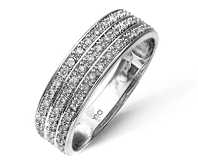 Ariel 9ct White Gold Quarter Carat Triple Row Diamond Half Eternity Ring