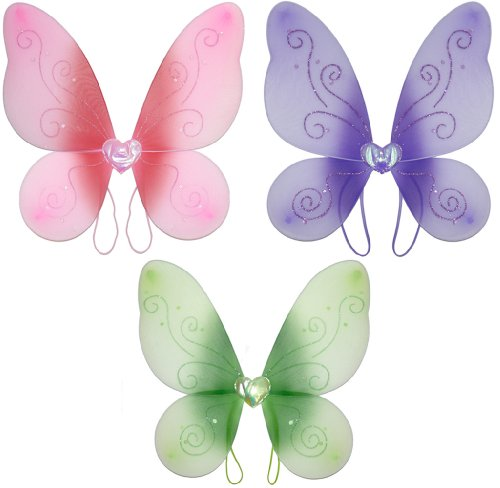 Swirl Nylon Butterfly Wings 3 piece Set Dress Up Fairy Princess Birthday Costume