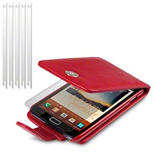 RED SAMSUNG GALAXY NOTE PU LEATHER FLIP CASE / COVER / POCKET / POUCH, WITH 6-IN-1 SCREEN PROTECTOR PACK