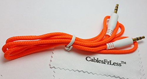 Cablesfrless (Tm) Braided 3Ft 3.5Mm Auxiliary (Aux) Audio Jack Cable (Orange)