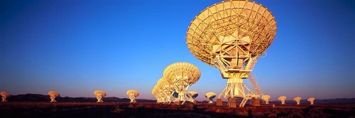 Walls 360 Premium Peel & Stick Wall Murals: Radio Telescopes In A Field Magdalena (48 In X 16 In)