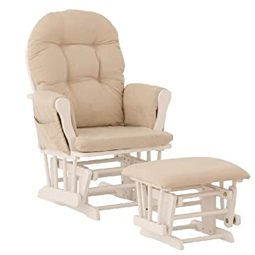 Stork Craft Hoop Glider and Ottoman, White/Beige