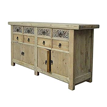 Chinese Vintage Natural Finish Carving Sideboard Buffet Cabinet Acs1147