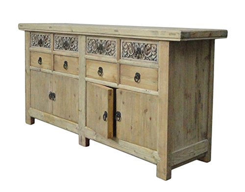 Chinese Vintage Natural Finish Carving Sideboard Buffet Cabinet Acs1147 1