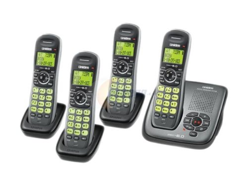 Uniden DECT Silver Cordless Phone System with 4 Handsets and Answering System (DECT1480-4G)